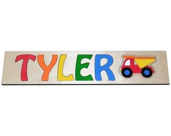 Personalized Wooden Name Puzzle With A Dump Truck id236209704