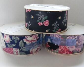 3 rolls of vintage ribbon, flower pattern ribbon, fabric ribbon