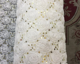 """60"""" w Off white rosettes w Small gold sequin on mesh  lace Fabric by the yard"""