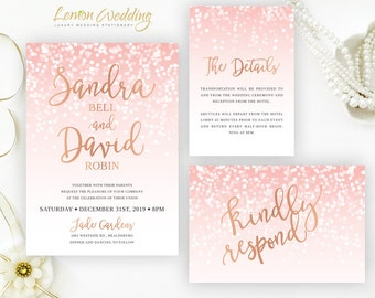 pink and rose gold invitations printed on shimmer card stock cheap wedding invitation kits - Cheap Wedding Invitation Kits