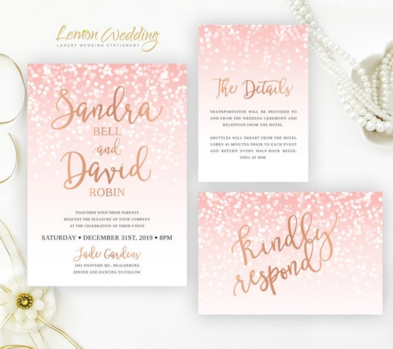 Blush pink and rose gold wedding Invitation sets Glitter