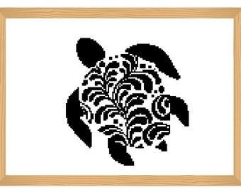 turtle cross stitch pattern, silhouette cross stitch, ornamental, turtle pattern, abstract, modern cross stitch, black and white