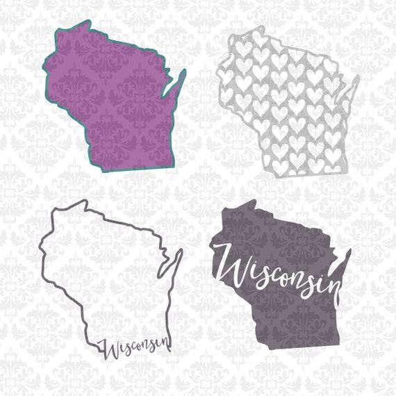 Wisconsin State Set Chevron Outline Home Love Hearts SVG DXF Ai Eps PNG Scaled Vector Instant Download Commercial Cut File Cricut Silhouette