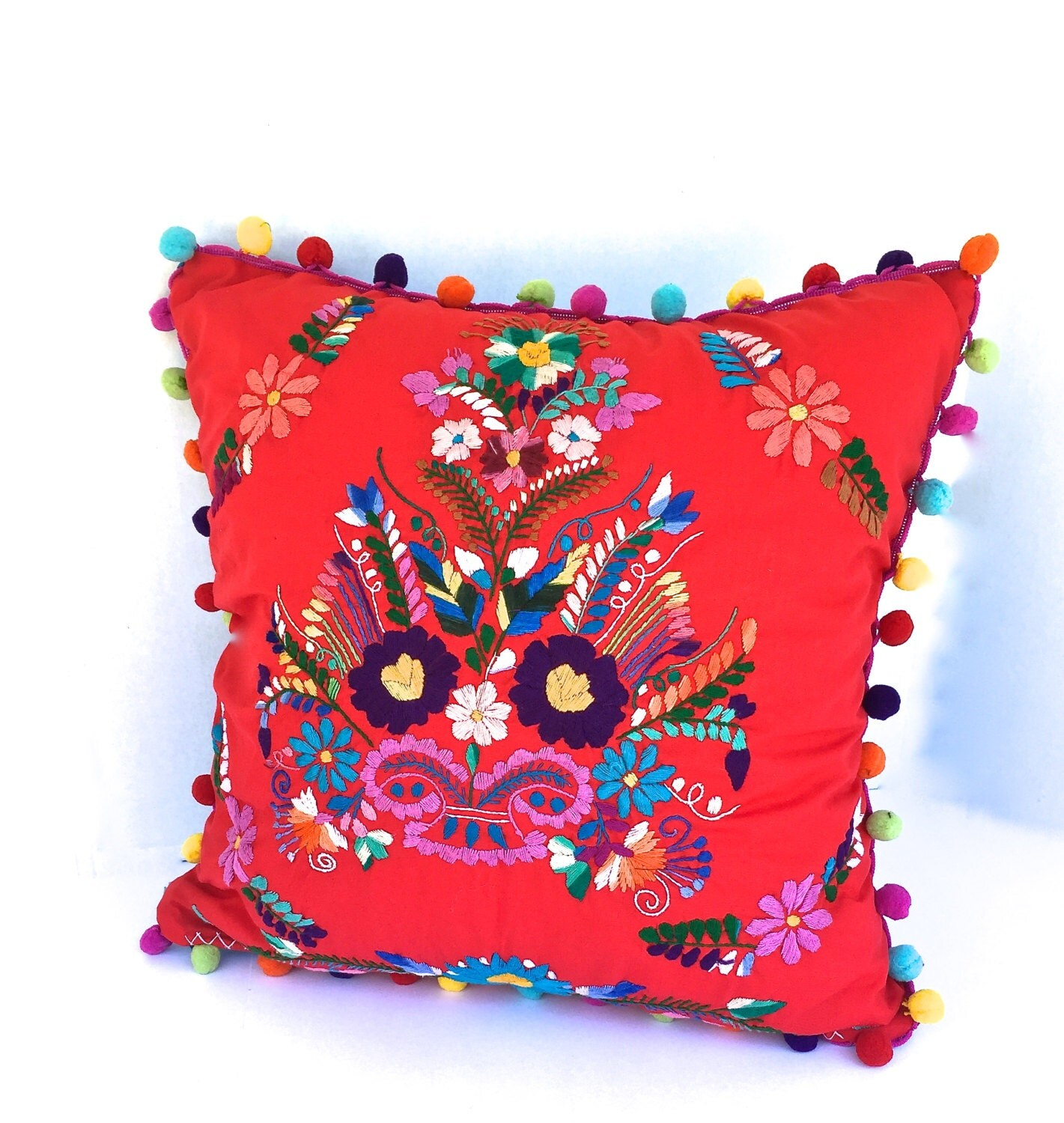 Embroidered Mexican Dress Pillow 18 Square Decorative