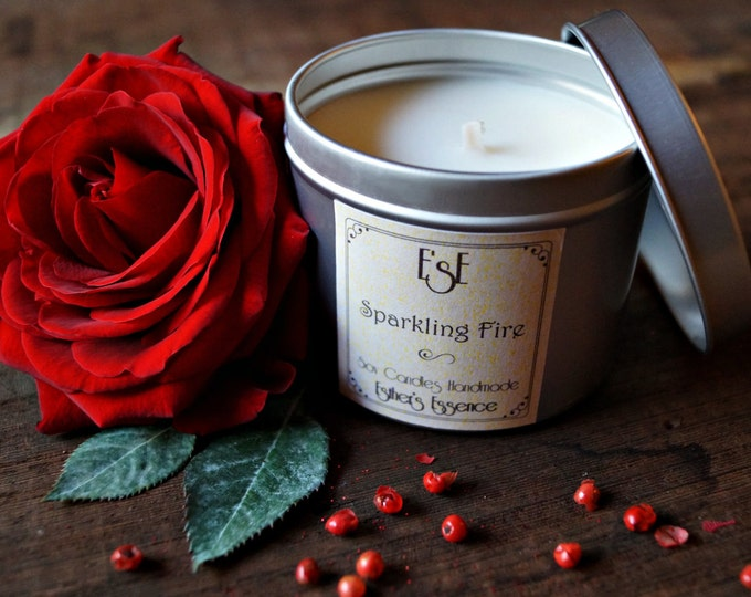 Soy Candle, 6oz, Jasmine Bitter Orange, Sparkling Fire, Tin candle, Scented Candle, Gift for her,Valentines day, Luxury, Aromatherapy