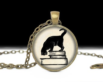 Cat Jewelry Book Jewelry Book Pendant Love Books Literary Necklace Library Jewelry Cat with Books Literary Neckace