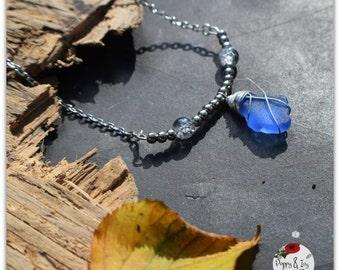 Irish blue seaglass beaded bar necklace