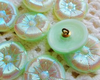 8 Modern Czech art glass buttons, mint green lustered glass floral FREE SHIPPING