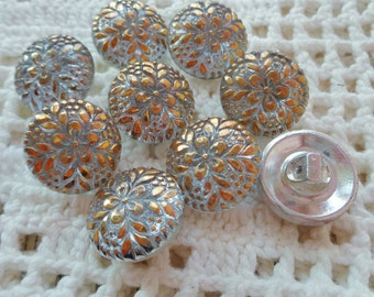 9 Modern Czech art glass buttons, silver backed lacy with gold on the front FREE SHIPPING