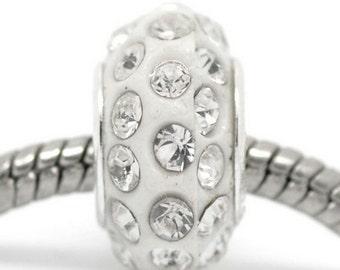 1PC White Rhinestone Resin Charm Beads Fit Charm Bracelet