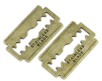 10PCs Embellishments Findings Carved Letter Razor Blade Bronze Tone4.4cmx2.5cm