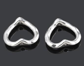 50 Silver Tone Love Heart Bead Frames 14x14mm