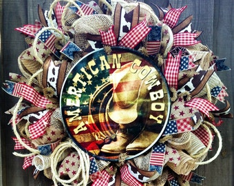 Cowboy Wreath, Western Wreath, Burlap Wreath, Deco Mesh Wreath, Country Decor, Rodeo Wreath, Front Door Wreath, Wreath, Rustic Wreath