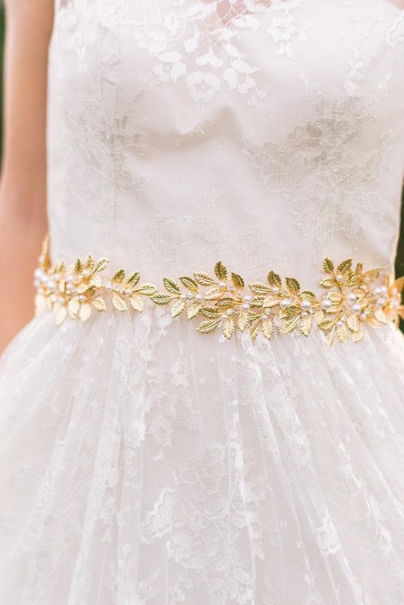 Gold Leaf Belt Bridal Sash