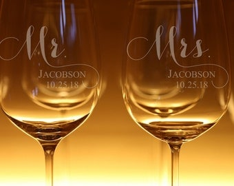 Mr. and Mrs. Part II Stemmed OR Stemless Engraved Wine Glasses