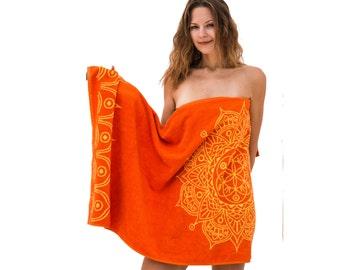 FREE SHIPPING Orange Bath Towel with Mandala Art Indian Vintage Bathroom Decor Yoga Birthday Gift for Friend