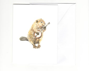 Greeting card - Banjo playing beaver - blank inside