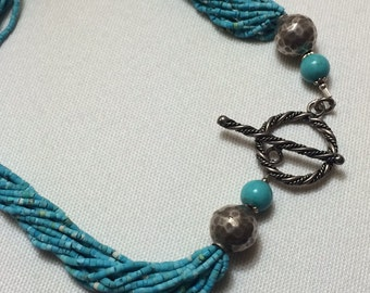 Turquoise Blue and Sterling Silver Bead Necklace