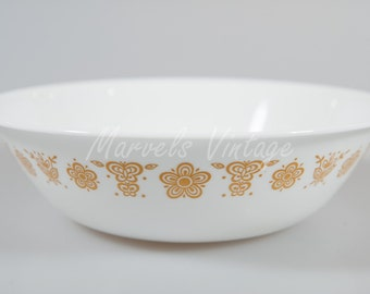 """Vintage Corelle Butterfly Gold Serving Bowl Discontinued Pattern Corning 1 Qt. 8 1/2"""""""