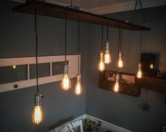 Custom Vintage Barn Wood Light with Edison Bulbs