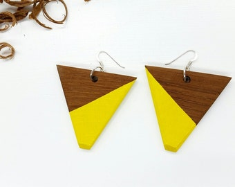 Yellow Wood Earrings, Yellow Earrings, Triangle Earrings, Geometric Earrings, Wood Earrings, Strip Earrings, Eco Chic Earrings