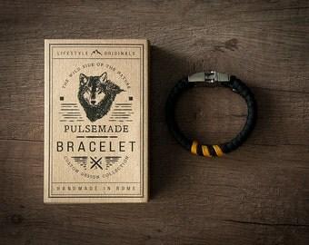 Men's bracelet-black woman > > > Unisex mustard in Paracord 550-Handmade Pulsemade paracord Mens bracelet-Womens black > > > Goldenrod