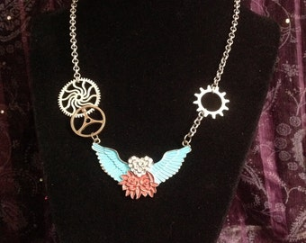 Angel wings, steampunk necklace