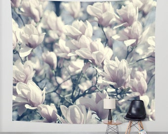 Wall tapestry, floral tapestry wall hanging, oversized wall art, girls room decor, magnolia flower tapestry, bedroom neutral tapestry pastel