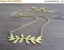 SPRING SALE ON Sale - Gold Branch Necklace, Greek Branch Necklace, Geometric Necklace, Simple Leaf Necklace, Dainty Gold Necklace, Nature Ne