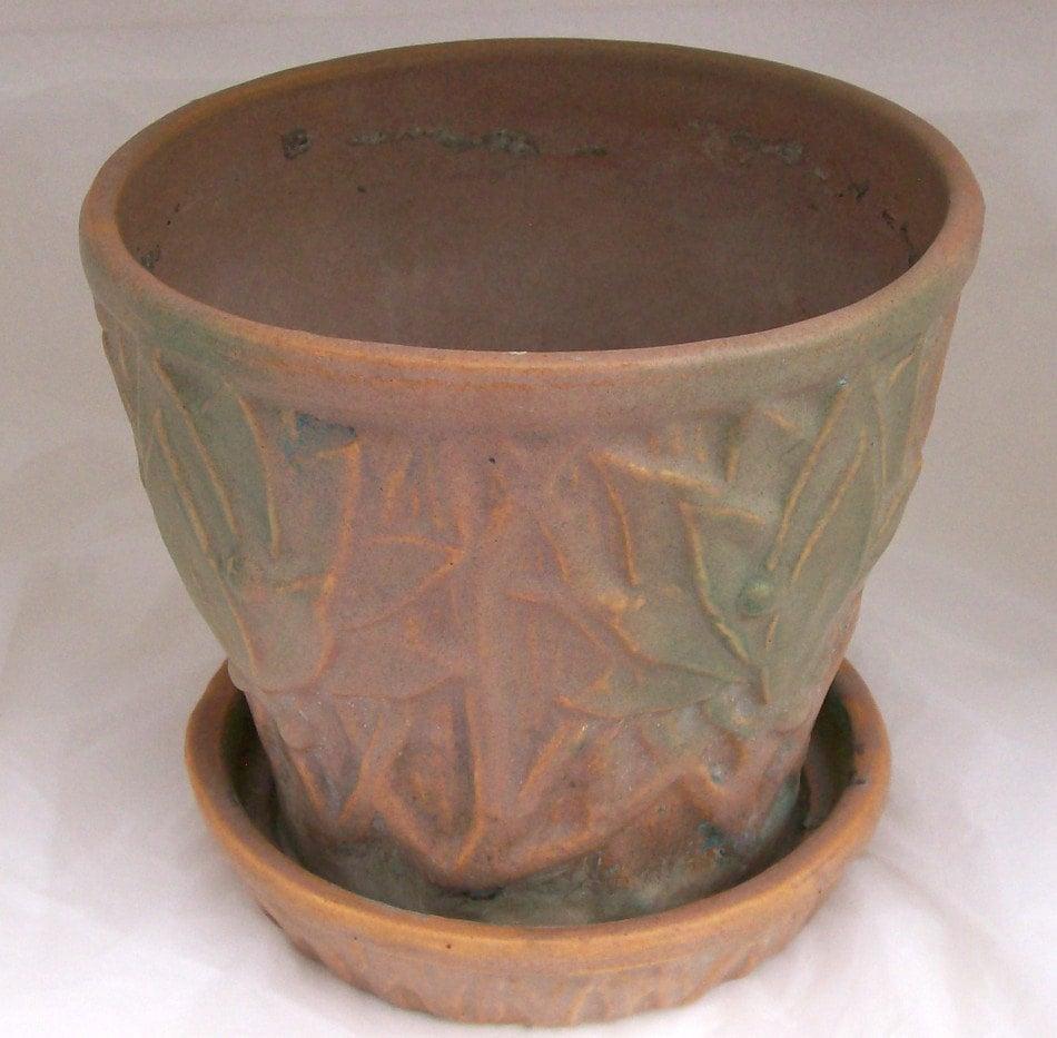 Vintage McCoy Pottery 1930s Stoneware Matte Glaze Flower Pot