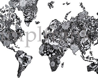 World Map in Black and White