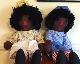 Homemade Raggedy Anne and Andy - Black
