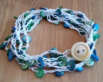 Beachy Beaded and Crocheted Necklace