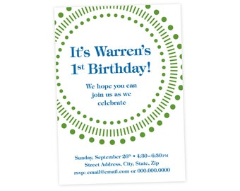 Green and Blue Birthday Invitation // Printable