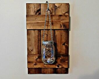 Hanging Mason Jar Candle Holder Wall Sconce Barn Door Wall Decor