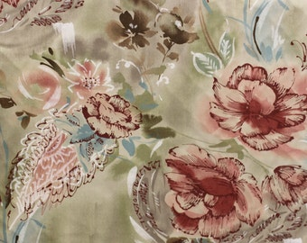 Cotton print Fabric Vintage Fabric, By Cone Mills D.B.A. David Dash, Good for Drapery, Bedding, Upholstery, Scarf, Window decoration,