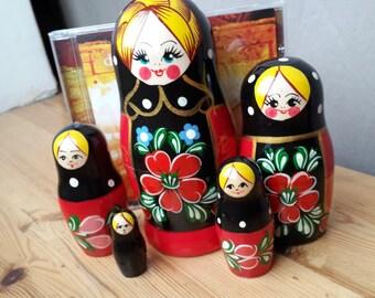Russian Nesting doll (+ GIFT), Matryoshka or Babushka - 5 dolls set, size 15-17 cm, red/black, Flowers  theme