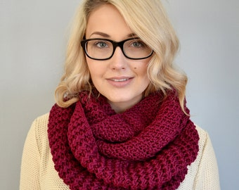 Bonita Rick Rack Stitch Infinity Scarf in Berry - READY TO SHIP