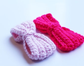 Crochet bows, Crochet bow clips, crochet bow props