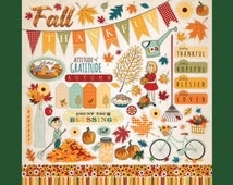 Autumn, Thankful, Element Stickers by Echo Park, 12x12 Sticker Sheet, Icons and Phrases