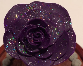 Purple Galaxy Rose, Beauty and the Beast  Rose, Enchanted Rose, Purple Rose with Glitter in a Glass Dome, Large Glass Dome Rose, Magic Rose