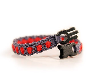 Mens bracelet, boyfriend gift, gift for him, red, grey, handmade jewelry, crochet jewelry, crochet items, crochet gift, mens gift