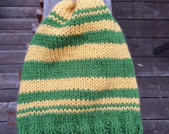 Hand knitted oregon ducks, slouchy hat.