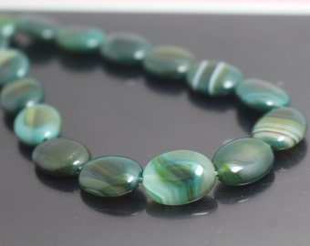Natural Madagascar Agate Oval Beads,Striped Agate Beads,15 inch per Strand