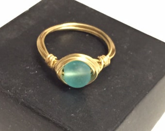 Blue Sea Glass Gold Wire Wrapped Solitaire Ring