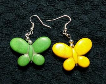 Sale 7 off Oregon Ducks colored Butterfly Howlite earrings