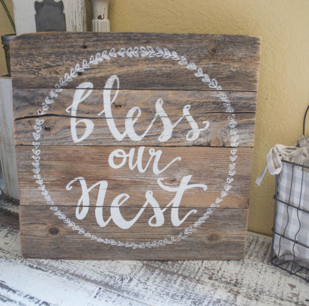Wood Sign Bless Our Nest Sign Pallet Sign