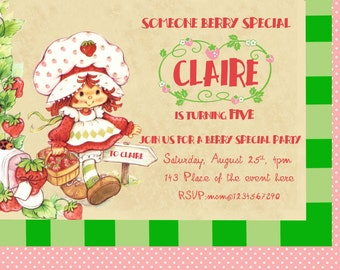 Vintage Strawberry Shortcake Invitation, Strawberry Shortcake Birthday Invitation. Digital (you print) With or Without Photo