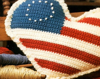 Crochet Americana Patriotic Pillow Decoration Fourth of July Memorial Day Veterans Days- PDF Download