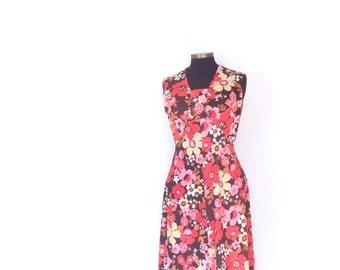 vtg maxi dress. 70s Sleeveless FLORAL print dress